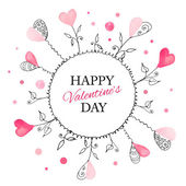 Postcard for Valentines day with watercolor hearts — Stock Vector