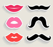 Set of lips and mustaches — Stock Vector