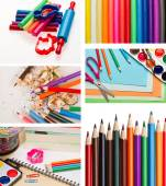 Set of color pencils and shool supplies — Stock Photo