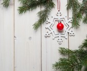 Christmas decorations with christmas tree — Stock Photo