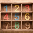 Colorful wooden numbers , zero to nine — Stock Photo #70573021