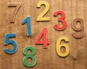 Colorful wooden numbers — Stock Photo