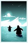 Penguins in the arctic night — Cтоковый вектор