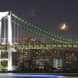 Tokyo rainbow bridge and moon — Zdjęcie stockowe #56046383