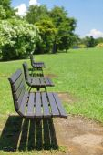 Wooden bench at pubic park — Stock Photo