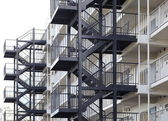 Metal fire escape outside apartment — Stock Photo