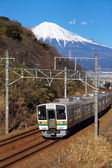 Mountain Fuji and train — Stock Photo