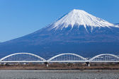 Mountain Fuji and railway — Stock Photo
