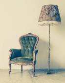 Antique chair with high nightlight — Stock Photo