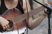Chords on the guitar — Stock Photo