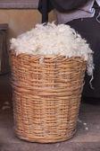 Wool in basket — Stock Photo