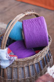 Wool in basket — Stock Photo