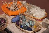 Balls of wool in the basket — Stock Photo