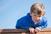 Sunny Day Young Boy Looking Down — Stock Photo