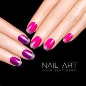 Nail Art. Luxury Nail Polish. Glitter Nail Stickers — Stock Photo