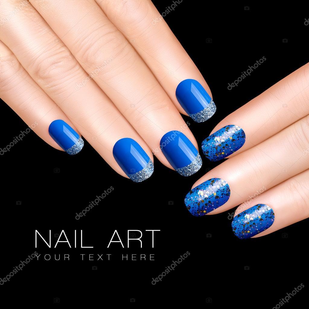 Nail Art Trend. Luxury Blue Nail Polish. Glitter Nail
