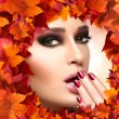 Autumn Makeup and Nail Art Trend. Fall Beauty Fashion Girl — Stock Photo #54194109