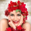 Happy Christmas Girl. Beautiful Woman in red. Holiday Hairstyle — Stock Photo #54194407