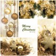Christmas Set. Winter Holiday Gifts. Festive Golden Collage — Stock Photo #54925941