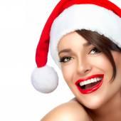 Happy Christmas Girl in Santa Hat. Beautiful Big Smile — Stock fotografie