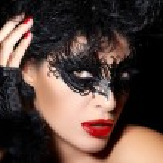 Masquerade. Closeup Short Hair Gorgeous Woman with Trendy Black — Stock Photo #59586347