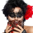 Masquerade. Pretty Short Hair Woman with Elegant Mask — Stock Photo #59997455