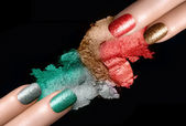 Festive Nail Polish and Mineral Eye Shadow — Stock Photo