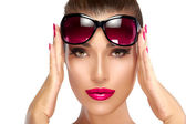 Fashion Model Woman Holding her Shades on Forehead — Stock Photo