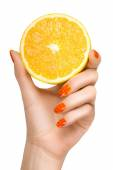 Female Hand Holding a Luscious Healthy Lemon — Stock Photo