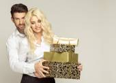 People with presents — Stock Photo