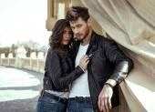 Fashion couple looking at camera — Stock Photo