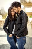 Fashion couple standing together — Stock Photo