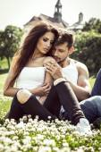 Sensual couple touching each other — Stock Photo