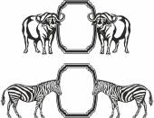 Frame with animals of Africa — Vetor de Stock