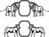 Frame with animals of Africa — Vector de stock