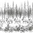 Deer in the northern taiga. — Stock Vector #69624691