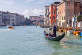 Morning cruise in Venice gondola on the Grand Canal — Stock Photo