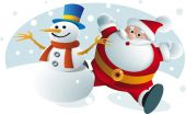 Santa and Snowman — Stock Vector