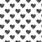 Black scribbled hearts pattern — Stock Vector