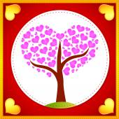 Pink hearts tree card — Stock Vector