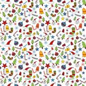 Seamless christmas doodle pattern — Stock Vector