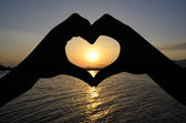 Heart and sunset — Stock Photo