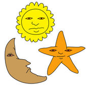 Unhappy sun moon and star — Stockvektor