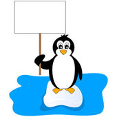 Penguin holding a placard — Stock Vector