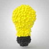 3d spheres arranged in bulb form — Stock Photo