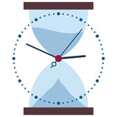 Clock and hour glass time changes — Stock Vector