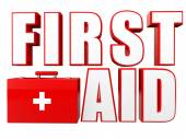 3d first aid box and text — Stock Photo