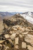View from the mountain top to the snow-capped peaks — Stock Photo