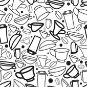 Seamless handwork pattern with cups of coffee — Stock Vector