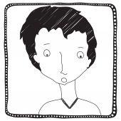 Men hand drawn avatar isolated on white background, black, frame — Stock Vector